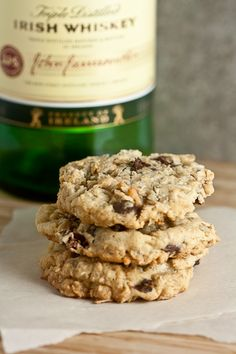 Oatmeal Cookies with Whiskey-Soaked Cherries. Perfect for St. Patrick's Day!