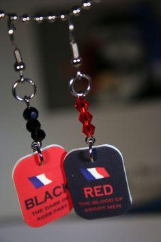 Red and Black Les Mis Earrings.