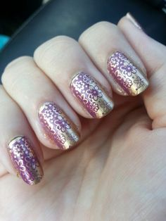 Gold w purple nail stamp