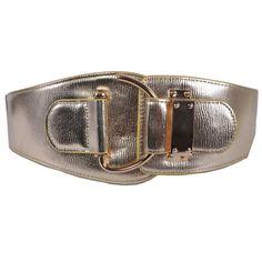Metallic Gold Cowhide Leather Elastic Rock Fashion Waist Belts Men SKU-71107134