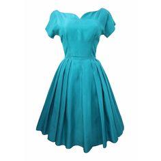 www.lovemissdaisy.com - 1950s teal taffeta vintage dress