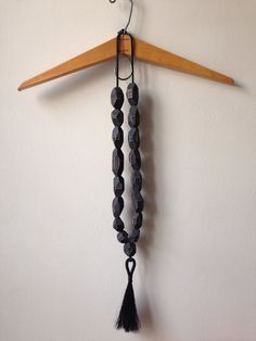 black bead necklace with horsehair tassel by tsbd on Etsy