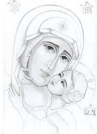 Η Παναγία της Μεγάλης αγάπης Religious Images, Religious Icons, Religious Art, Angel Drawing, Line Drawing, Church Icon, Christian Artwork, Biblical Art, Byzantine Icons