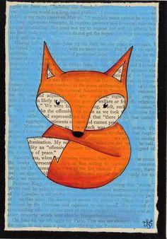 not cross stitch but still cute craft idea! Fox + Book page art = perfect match! [Craftster: jo_mama]