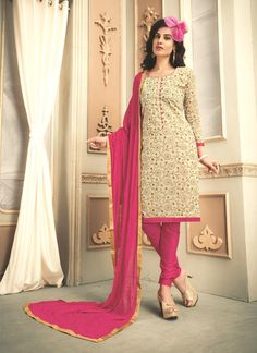 A great collection of stunning salwar suit. Buy online classy embroidered and lace work churidar designer suit.