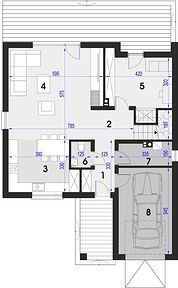 Maja - Rzut parteru Architectural House Plans, Floor Plans, How To Plan, Home, Houses, Kitchens, Projects, Ad Home, Homes