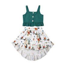 Toddler Baby Girl Clothes Outfit Set Summer Top T-shirt Floral Skirt Beach Dress Girls Summer Outfits, Little Girl Outfits, Little Girl Dresses, Kids Outfits, Dress Girl, Summer Clothes, Baby Girl Skirts, Baby Skirt, Baby Dresses