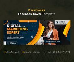 Business Facebook Cover Template AI, EPS Facebook Cover Template, Lorem Ipsum, Templates, Marketing, Digital, Business, Stencils, Vorlage, Store