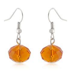 Orange Faceted Bead Earrings