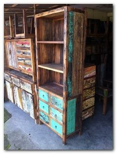 recycled boat wood-love the patina All Wood Furniture, Reclaimed Furniture, Distressed Furniture, Recycled Furniture, Recycled Wood, Furniture Making, Repurposed, Wooden Pallets, Wooden Diy