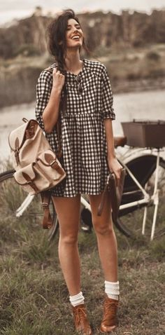 dress gingham hipster camping spring outfits backpack bag shoes