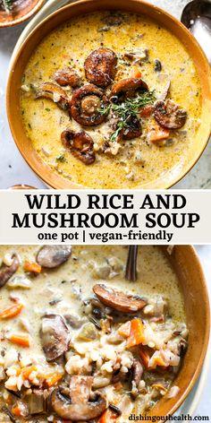 Tasty Vegetarian Recipes, Healthy Recipes, Hearty Vegetarian Soup, Wild Rice Recipes, Easy Soup Recipes, Mushroom Soup Recipes, Vegitarian Soup Recipes, Dinner Recipes With Rice, Health Soup Recipes