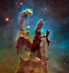 Pillars of Creation revisited in high definition by the NASA's Hubble Space Telescope. Full history in the NASA site: Hubble Goes High Def to Revisit the Iconic 'Pillars of Creation' h/t Huff Post. Hubble Photos, Hubble Images, Hubble Pictures, Cosmos, Hubble Space Telescope, Space And Astronomy, Telescope Images, Astronomy Science, Eagle Nebula