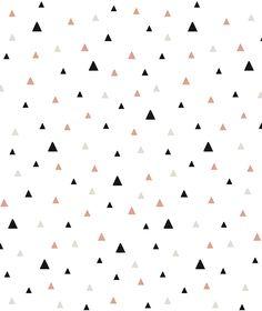 Papier peint géométrique triangle noir et corail