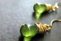 Lovely green teardrop dangle earrings
