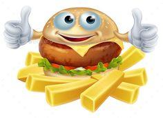 Cartoon hamburger man and chunky potato French fries or chips