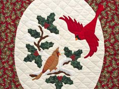 amish applique quilts | Cardinals Applique Quilt -- magnificent meticulously made Amish Quilts ...
