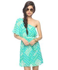 Woven Print One Shoulder Dress