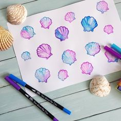 Lush watercolor shells by with our Dual Brush Pens . Brush Pen Art, Watercolor Effects, Lush, Shells, Stationery, Hair Accessories, Pens, Instagram, Watercolor Painting