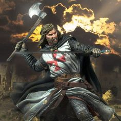 Knights Templar:  A #Knight #Templar with double weapons.