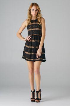 Lace Stripes Dress (Black+Taupe) - Lavishville
