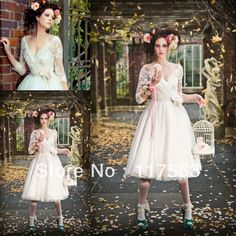 High Quality Vintage V Neck See Through Lace Tea Length Wedding Dress With Sleeves Bridal Gown Hot Sale Free Shipping  HS205