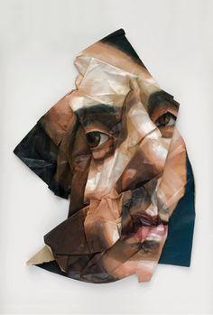 Rupert Shrive Distorted portraiture Screw up prints - pay careful attention to the new portrait this technique creates Foto Logo, Face Distortion, Album Cover, A Level Art, High Art, Gcse Art, Portrait Art, Portraits, Grafik Design