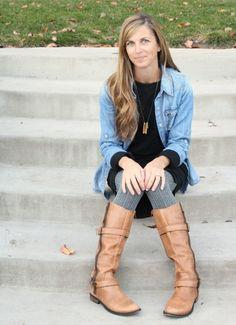 black dress chambray shirt boots