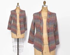 Vintage 80s Woven Jacket / 1980s Fringed Desert Shades Lightweight Cardigan