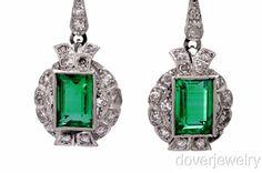Antique 7 26ct Diamond Fine Green Emerald Platinum Earrings 10 8 Grams   eBay