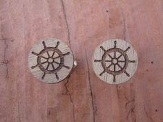 Ship's Wheel Cufflinks Father's Day Gift by BezalelArtShop on Etsy