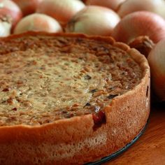 Zwiebelkuchen (German Onion Pie) with bacon, butter and caramelized onions From: The Daring Gourmet, please visit Quiches, Pie Recipes, Cooking Recipes, Onion Recipes, Recipies, Bacon Pie, Cannoli, Tapas, The Best