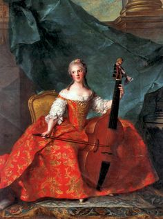 Jean-Marc Nattier's Madame Henriette de France ( Madame Henriette playing the Viola da Gamba). I am totally unclear on why she seems to be bowing the air and why she has a ribbon tied around her scroll--rather bad form, there. Oh well.