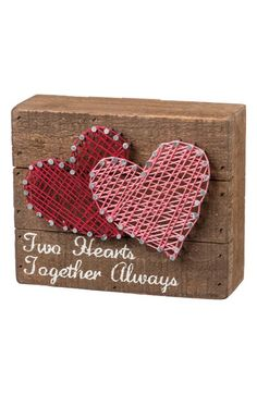 Free shipping and returns on Primitives by Kathy Two Hearts String Art Box Sign at Nordstrom.com. Natural string is wrapped around silvery nails to form a country-chic heart design on a rustic wooden box sign stamped with the words 'Two Hearts Together Always.'