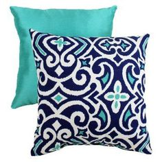 Pillow Perfect Decorative Blue and White Damask Square Toss Pillow - 434131