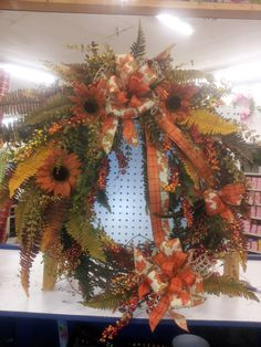 Fall grapevine wreath mixed w/sunflower by kyong