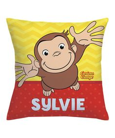 tvs toy box curious george hug me personalized throw pillow