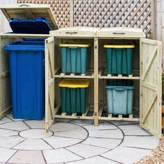 The Bellus Double Wheelie Bin Storage Chest hides up to two wheelie bins to instantly boost the kerb appeal of your property. Made in the UK. Box Storage Unit, Storage Bins, Storage Chest, Recycling Bin Storage, Recycling Ideas, Decking Base, Bin Store, Oil Based Stain