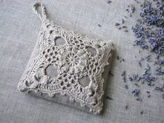 Items similar to Linen lavender sachet- crocheted- hanging decoration- gift for her- handmade- wedding favor- gift with love- aromateraphy- bridal gift on Etsy Crochet Sachet, Crochet Gifts, Lavender Bags, Lavender Sachets, Crochet Squares, Crochet Motif, Lino Natural, Crochet Pillow Patterns Free, Sachet Bags
