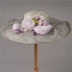 • Lexie  • Design by Louise Green   • Fabric: Parisisal Straw Crown, Sinamay Straw Brim, Flowers, Ribbon & Bow   • Colors: Sage w/ Lavender, Denim English Hats, Summer Hats, Spring Summer, Kentucky Derby Hats, Green Fabric, Ribbon Bows, Hats For Women, Designing Women, Headbands