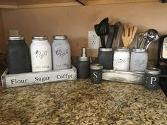 Distressed Mason Jars & Mason Sets: Custom Kitchen – Office - Bathroom sets with whitewashed, rustic, quality, solid wood boxes for even more storage space! Pick your colors & personalize your word/message/letter engravings, FREE with purchase. Check out
