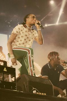 Quavo wearing Gucci Stretch Cotton Polo, Gucci Embroidered Pants