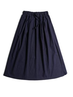 A-line Cotton-blend Casual Solid Midi Skirt