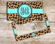 Cute license plate or frame - Cheetah animal print aqua blue mint - monogrammed custom car tag car accessory bicycle license plate (9959)