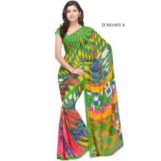 Splendorous multi color printed saree  - Online Shopping for Georgette Sarees by danifashions