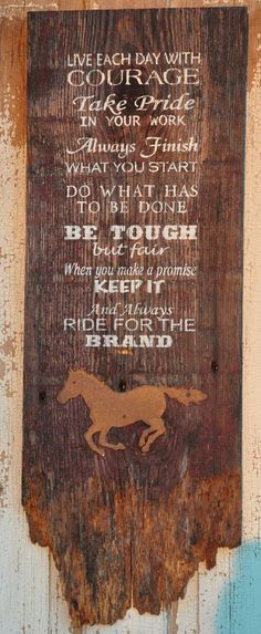 Rustic Western Hand Painted Old Barnwood Ride For The Brand Wall Hanging Western Wood Sign Cowboy Quotes, Horse Quotes, Farm Quotes, Country Quotes, Country Decor, Rustic Decor, Rustic Wood, Barnwood Ideas, Country Art