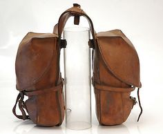 Vintage Swiss Military Motorcycle Saddle Bags - Circa 1930s