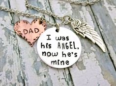 Angel Dad* Memorial Jewelry* Memorial Keepsake* Loss Of Dad* Loss Of Father* Angel Wings* Guardian Angel* Memorial Gift* Sympathy Jewelry*