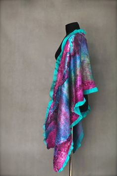 Nuno Felted Scarf Felt Wrap Multicolor Felted by FeltedPleasure, $145.00