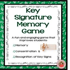 Key Signature Memory Game Have fun while learning with Key Signature Memory. Students must use their memory, concentration and knowledge of KEY SIGNATURES on the TREBLE staff, to match the key signature with its correct name!